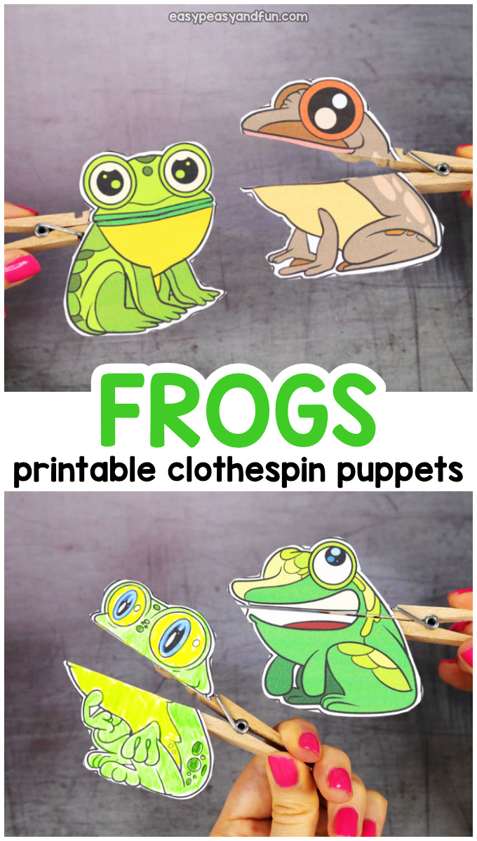 image about Printable Frogs identify Frog Clothespin Puppets - Very simple Peasy and Enjoyable