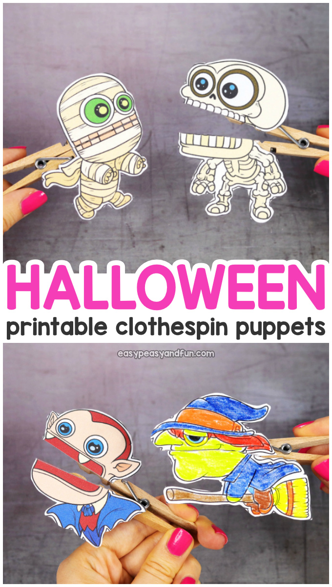 Printable Halloween Clothespin Puppets for Kids