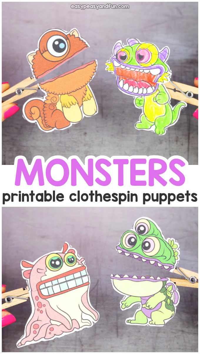 Printable Monsters Clothespin Puppets for Kids