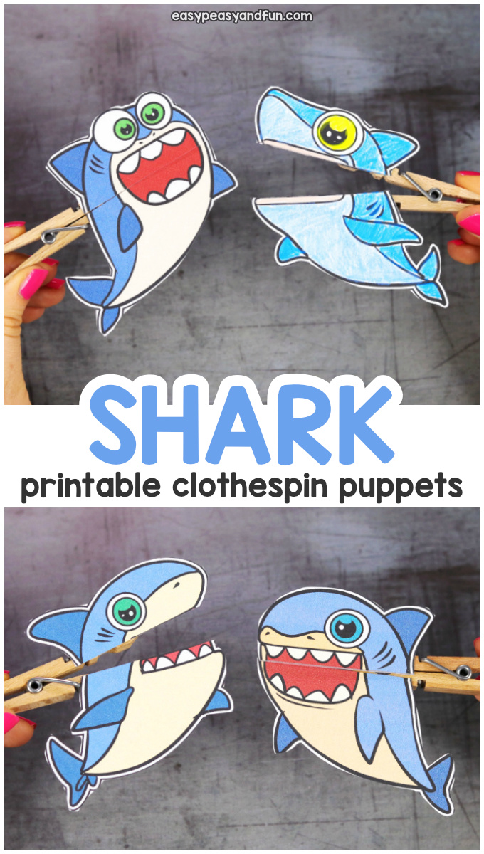 Printable Shark Clothespin Puppets for Kids