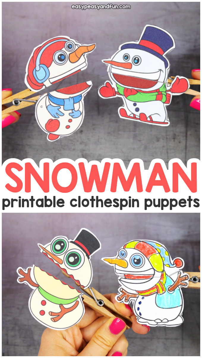 Printable Snowman Clothespin Puppets for Kids