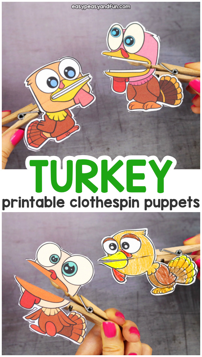 Printable Turkey Clothespin Puppets for Kids