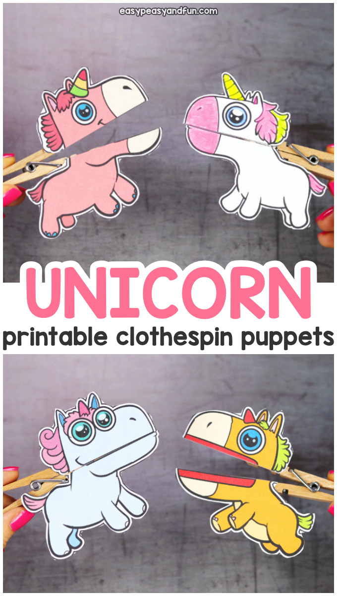 Printable Unicorn Clothespin Puppets for Kids