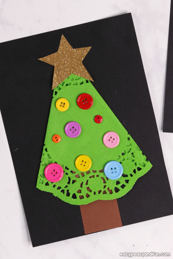Simple Doily Christmas Tree Craft Idea for Kids