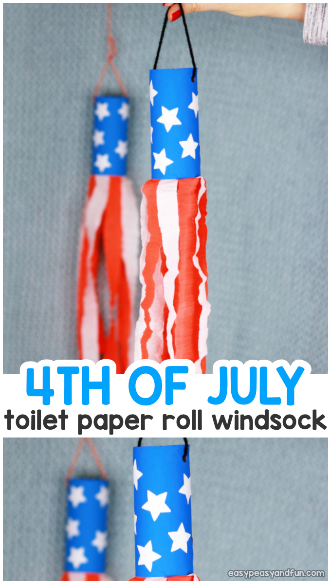 4th Of July Windsock Toilet Paper Roll Craft Idea for Kids