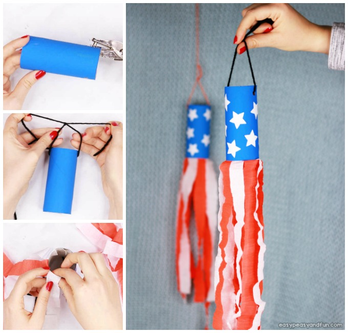 4th Of July Windsock Toilet Paper Roll Craft for Kids