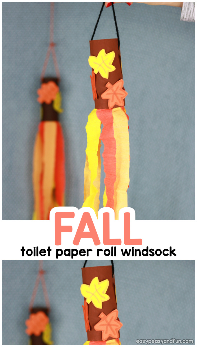 Fall Windsock Toilet Paper Roll Craft Idea for Kids