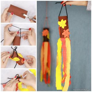 Fall Windsock Toilet Paper Roll Craft for Kids