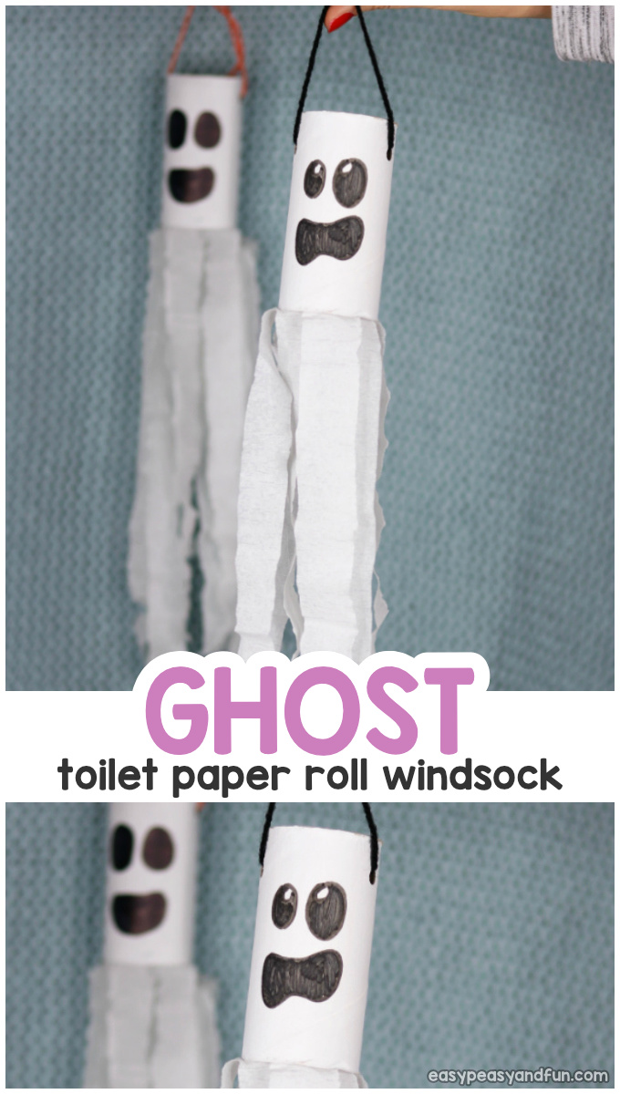 Ghost Windsock Toilet Paper Roll Craft Idea for Kids