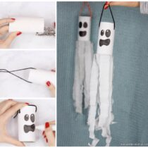 Ghost Windsock Toilet Paper Roll Craft