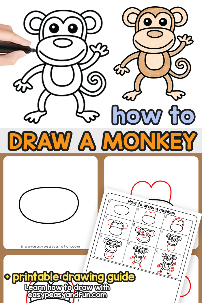 How To Draw A Monkey Step By Step Drawing Guide Easy Peasy And Fun