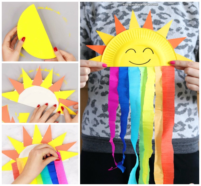 Paper Plate Sun And Rainbow Craft Easy Peasy And Fun