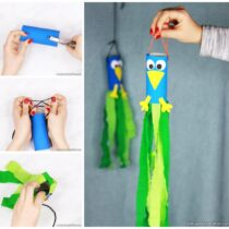Peacock Windsock Toilet Paper Roll Craft