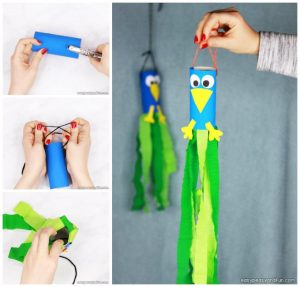 Peacock Windsock Toilet Paper Roll Craft for Kids