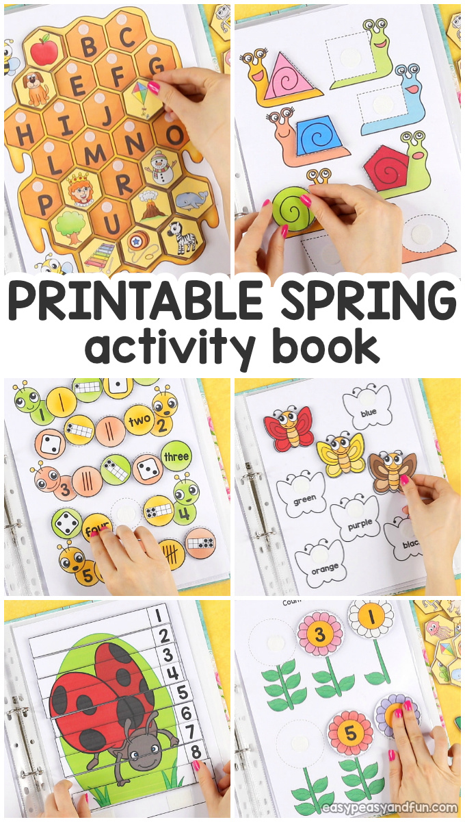 image about Printable Activity Books referred to as Printable Spring Serene Guide - Sport E book for Pre-K and K