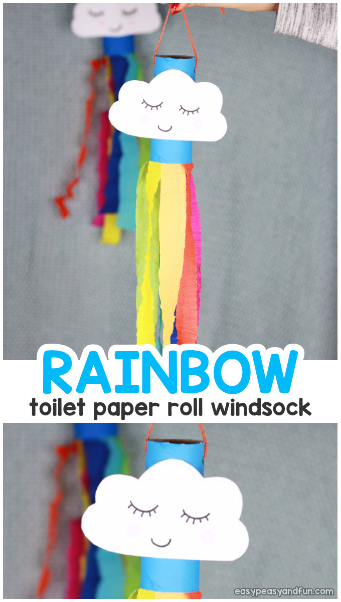 Rainbow Windsock Toilet Paper Roll Spring Craft for Kids