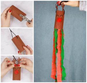 Reindeer Windsock Toilet Paper Roll Craft for Kids
