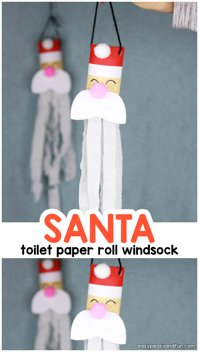 Santa Windsock Toilet Paper Roll Craft Idea for Kids