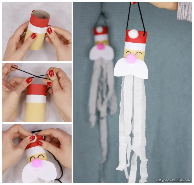 Santa Windsock Toilet Paper Roll Craft for Kids