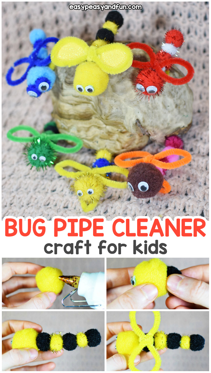 Bug Pipe Cleaner Crafts with Pom Poms - a cute and fun spring craft for kids