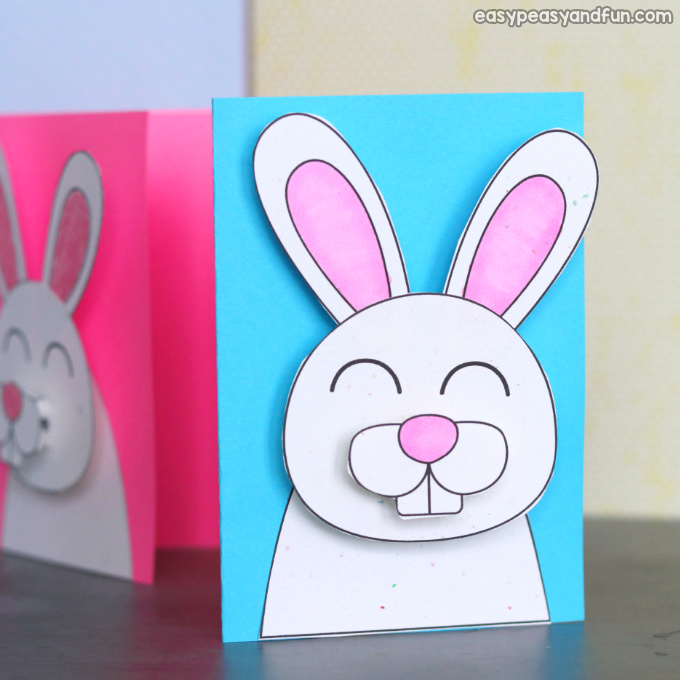 Easter bunny card idea. Fun Easter craft for kids to make.