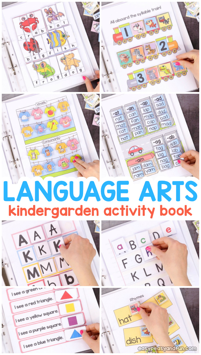 Kindergarten Language Arts Quiet Book - fun printable activity book for learning language arts.