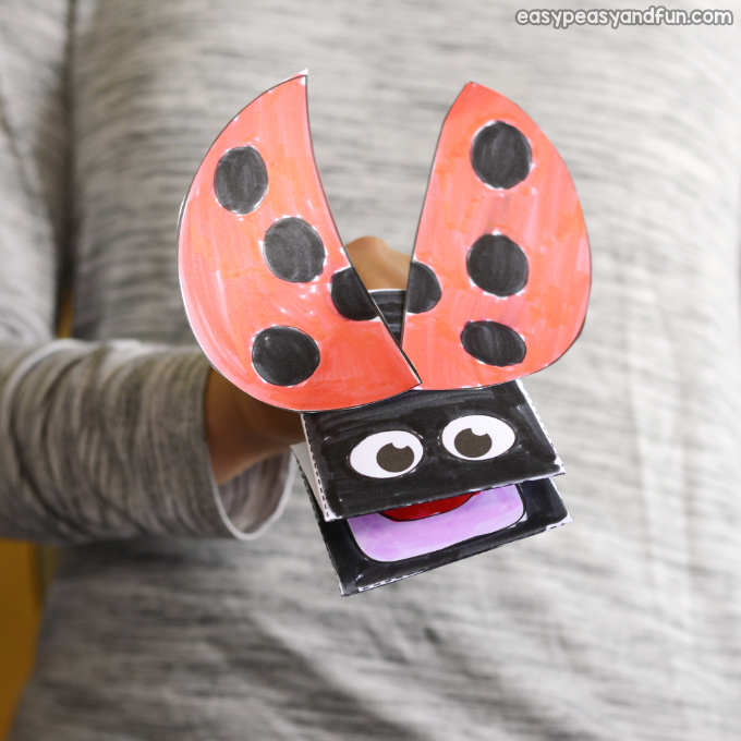 Ladybug Puppet Printable Template for Kids