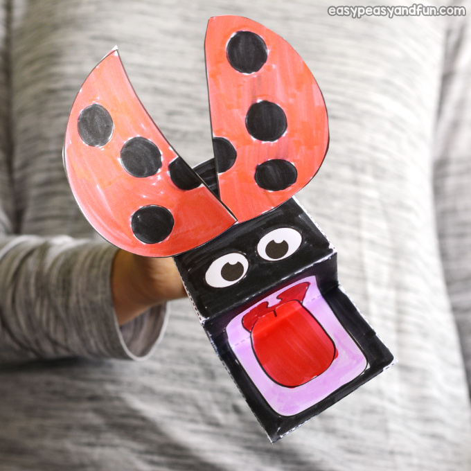 picture regarding Printable Ladybug referred to as Ladybug Puppet Printable Template - Basic Peasy and Enjoyment