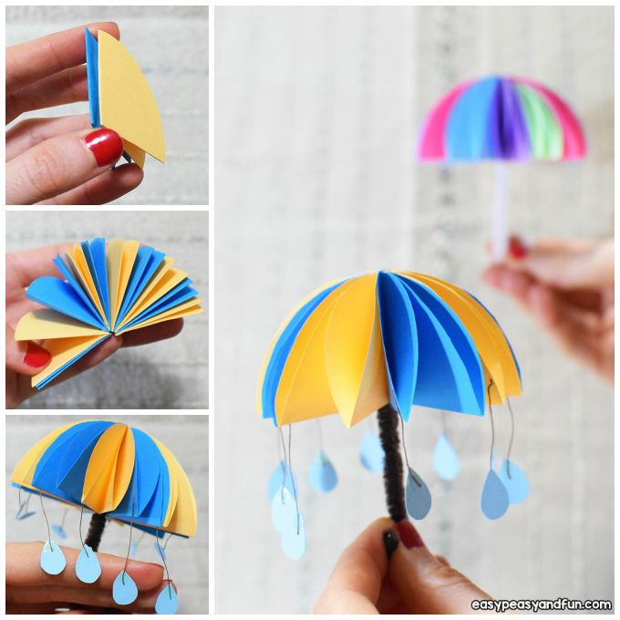 Paper Umbrellas Craft Idea