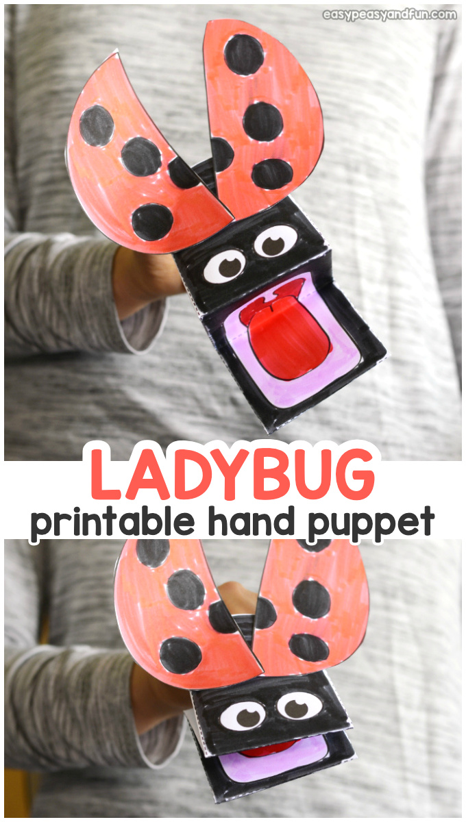 Printable Ladybug Puppet Template for Kids