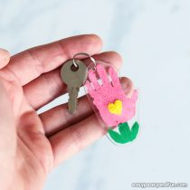 Shrinky Dinks  Flower Handprint Keychain