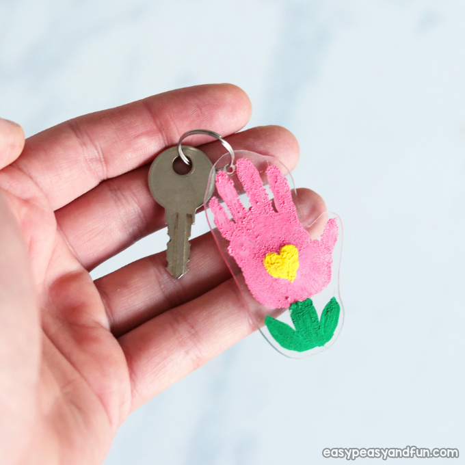 Shrinky Dinks Flower Handprint Keychain Craft