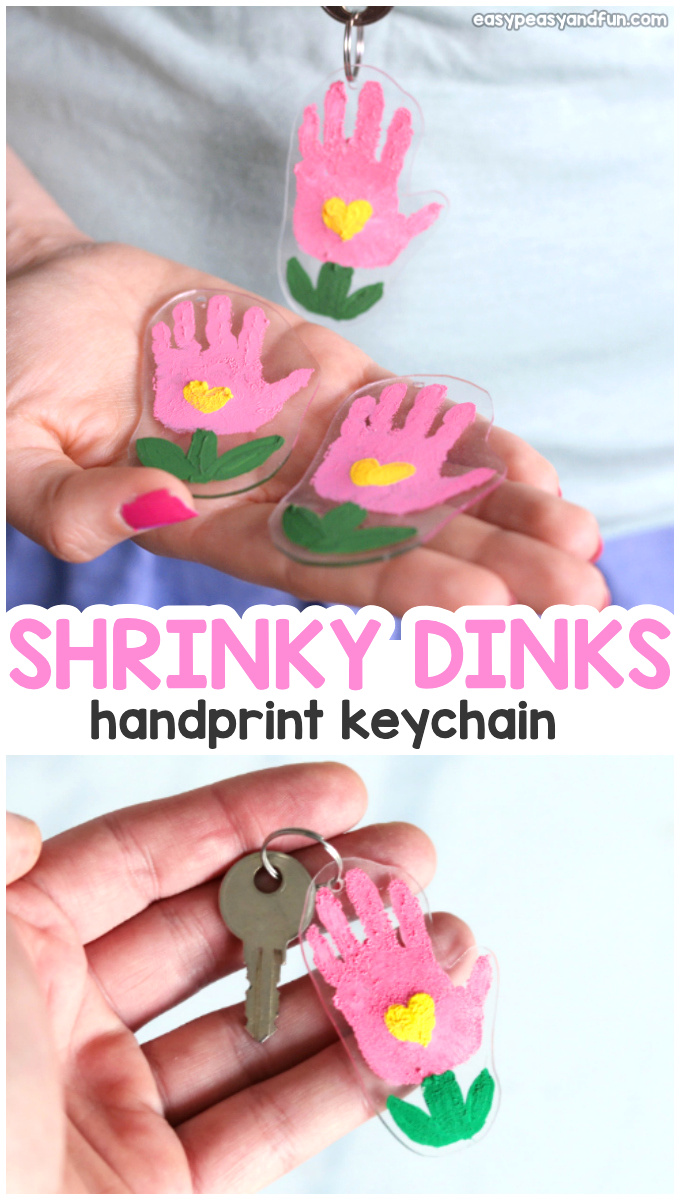 Shrinky Dinks Flower Handprint Keychain Craft for Mothers Day or Spring