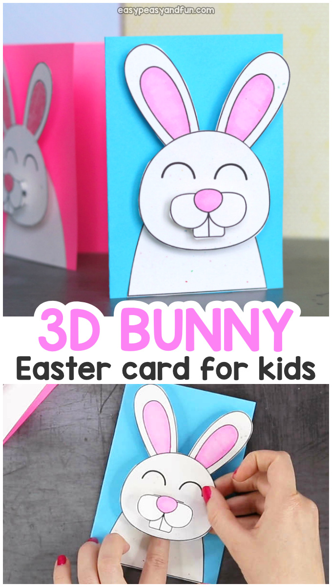 Super cute Easter bunny card idea. Easter craft for kids.