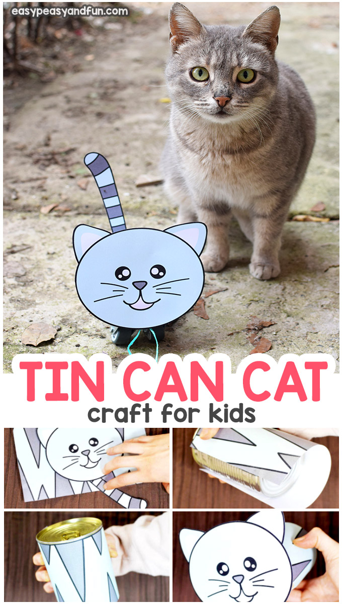 Tin can cat craft - tin can craft ideas