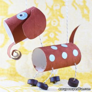 Toilet Paper Roll Dog Puppet Craft for Kids