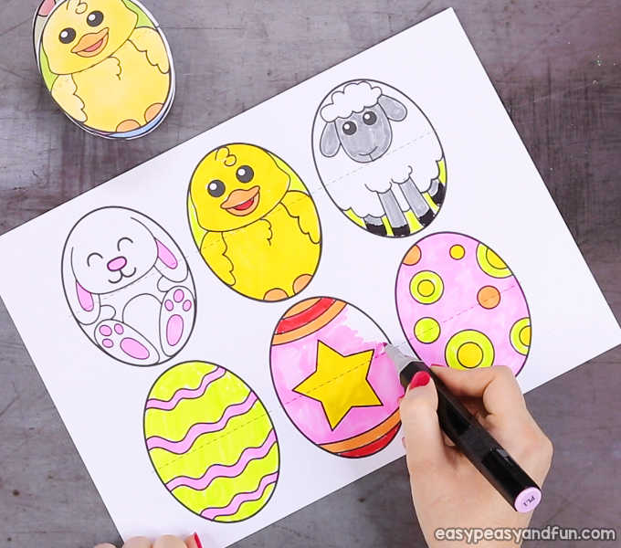 photograph relating to Printable Easter Egg titled Printable Easter Egg Paper Toy - Basic Peasy and Entertaining
