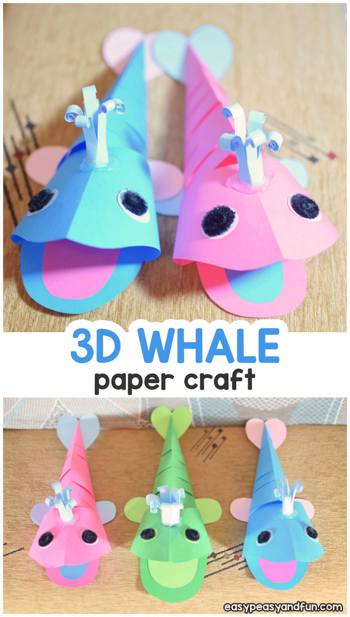 3D Paper Whale Craft for Kids - Summer Craft Idea