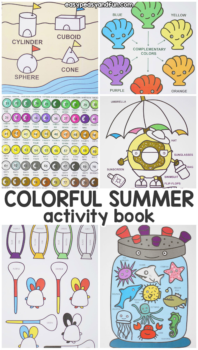 Colorful Summer Quiet Book - Fun Learning Activity Book for Kids