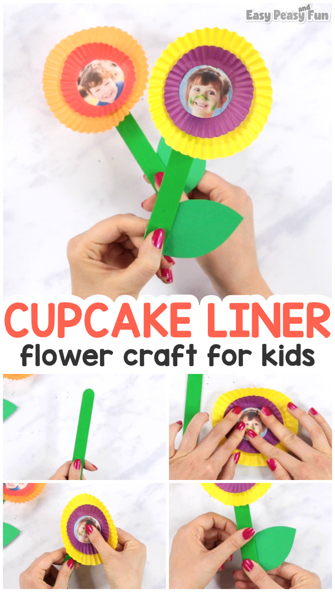 Cupcake Liner Flower Craft Idea - Mothers day crafts for kids