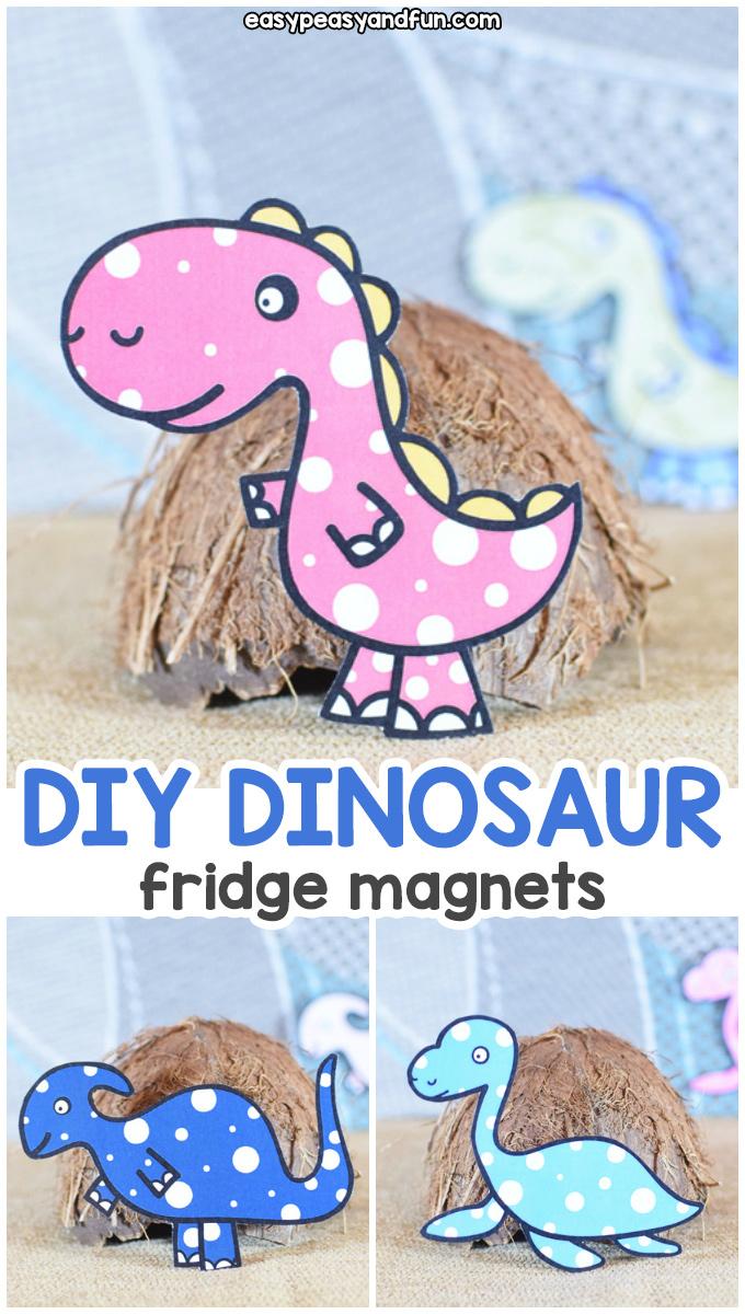 DIY Dinosaur Fridge Magnets