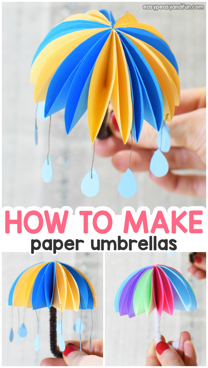 How to make paper umbrellas. Fun paper craft for kids.