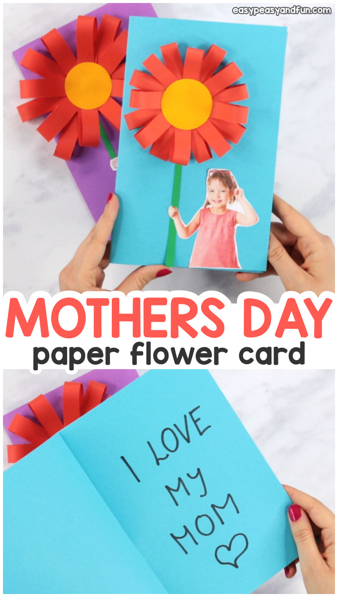 Paper Flower Mothers day Card Idea for Kids