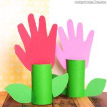 Paper Roll Handprint Flowers – Mother's Day Craft Idea