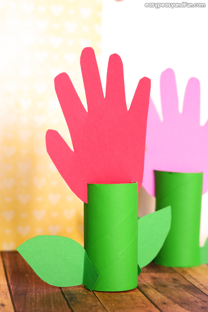 Paper Roll Handprint Flowers Craft