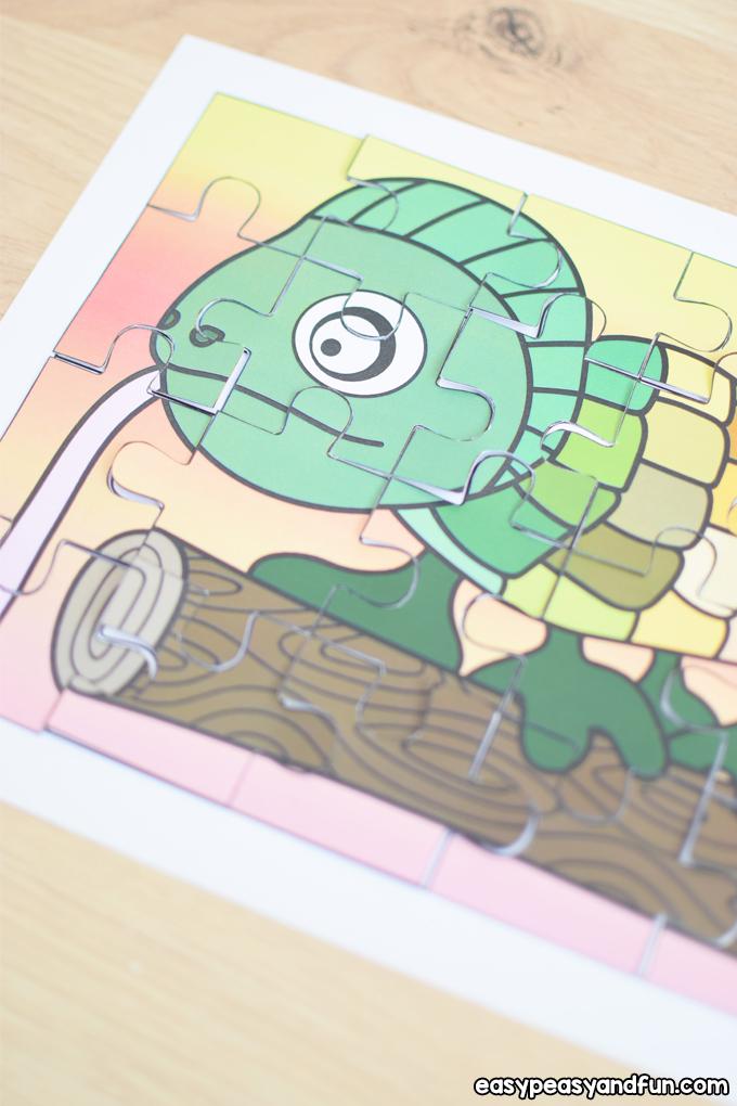 Printable Chameleon Puzzle for Kids to Make
