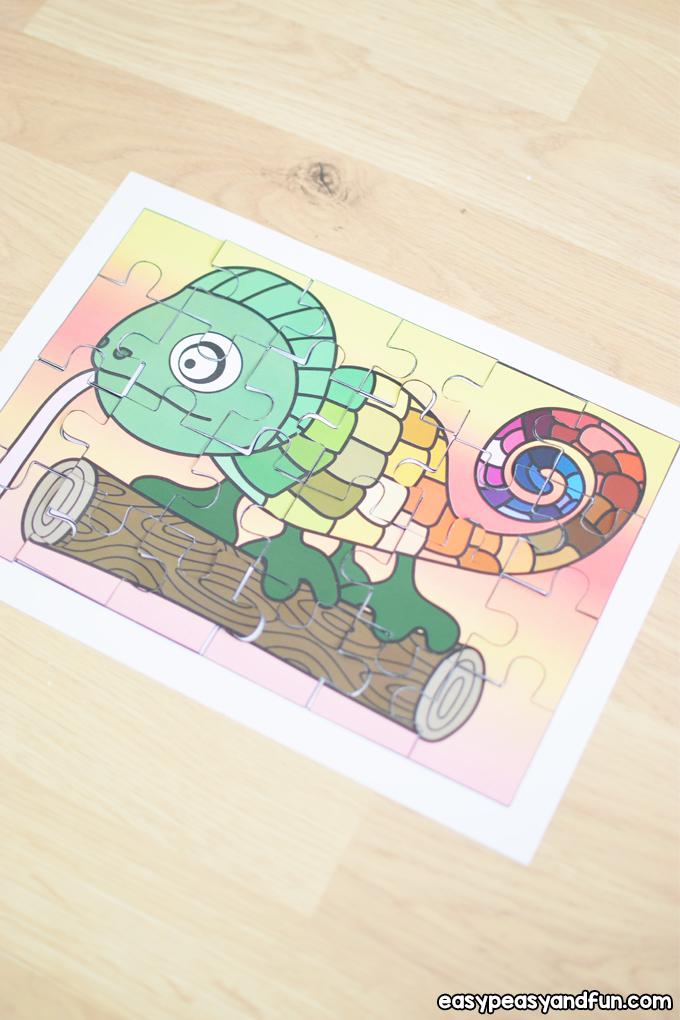 Printable Chameleon Puzzle for Kids