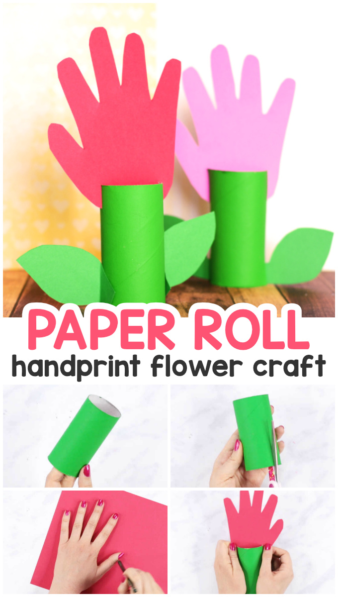 Toilet Paper Roll Handprint Flowers Craft for Kids