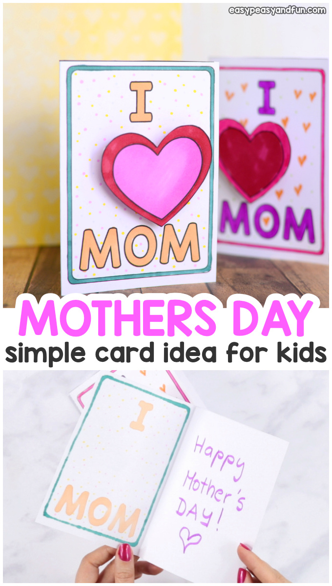 Simple Mothers Day Card Idea for Kids