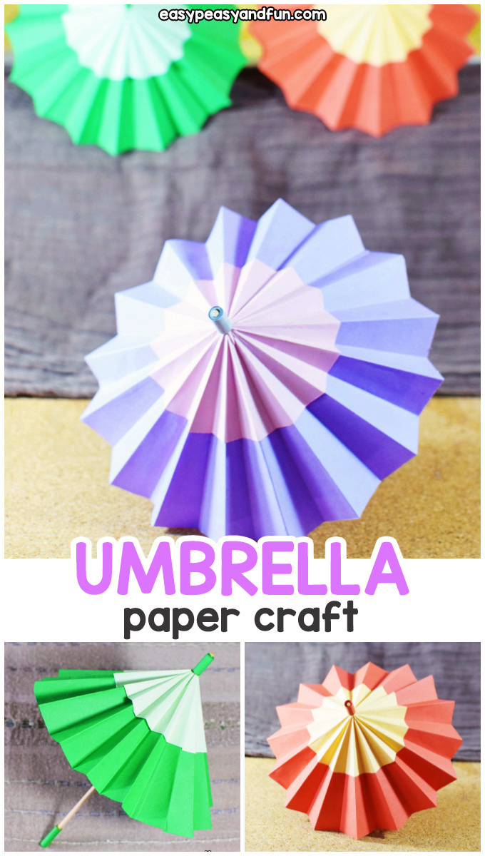 Paper Umbrella Craft for Kids - fun paper craft for kids